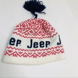 Jeep Wool Blend Ski Snow Hat with Tassel